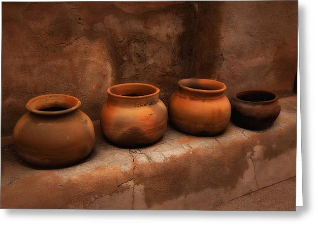 Burned Clay Greeting Cards - Pots ... Greeting Card by Chuck Caramella