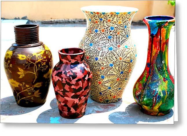 Ceramics Ceramics Greeting Cards - Pots  Greeting Card by Saira Akmal  Lohan
