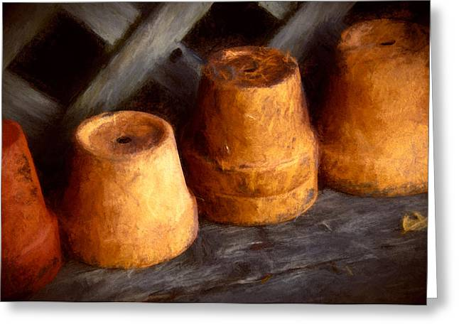 Shed Mixed Media Greeting Cards - Pots Shed Greeting Card by John K Woodruff