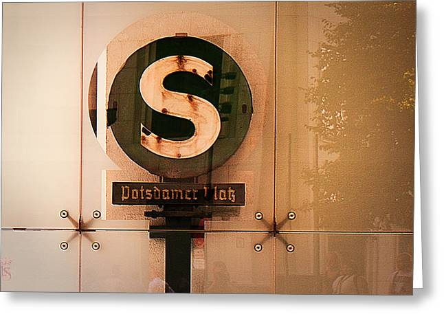 Subtle Colors Greeting Cards - Potsdamer Platz  Berlin  Station Sign Greeting Card by Li   van Saathoff