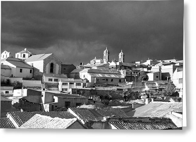Bolivia Guide Greeting Cards - Potsi 2 Towers Black And White Greeting Card by For Ninety One Days