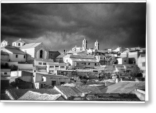 Bolivia Guide Greeting Cards - Potsi 2 Towers Black And White Retro Greeting Card by For Ninety One Days