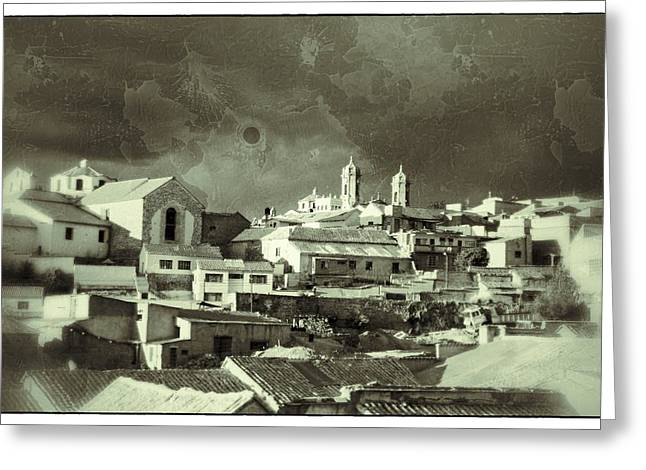 Bolivia Guide Greeting Cards - Potsi 2 Towers Black And White Vintage Greeting Card by For Ninety One Days