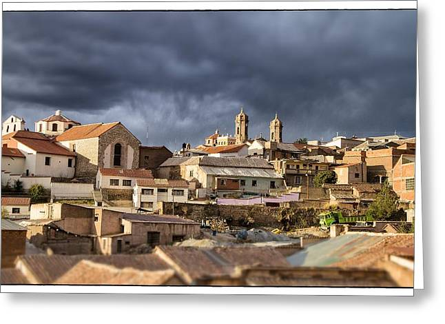 Bolivia Guide Greeting Cards - Potosi 2 Towers Tilt Shift Greeting Card by For Ninety One Days