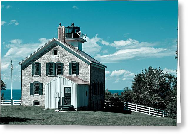 Pottawatomie Greeting Cards - Pottawatomie Lighthouse Greeting Card by Allen Tunget