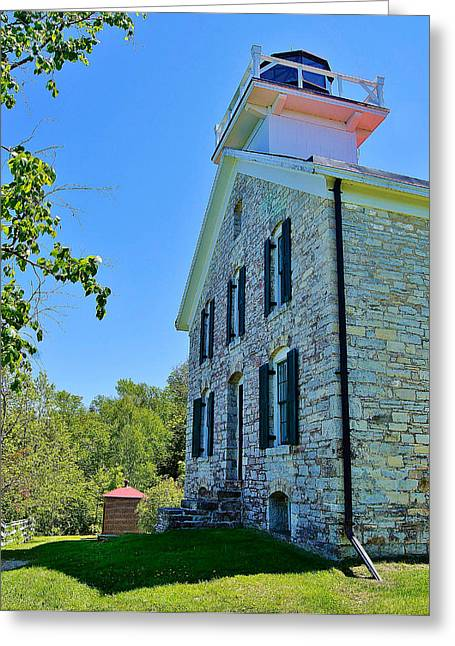 Pottawatomie Greeting Cards - Pottawatomie or Rock Island Lighthouse  Greeting Card by Carol Toepke