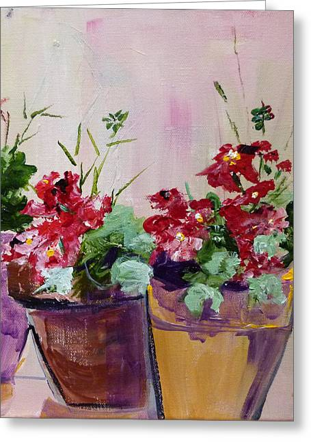 Suzanne Willis Greeting Cards - Potted Geraniums Greeting Card by Suzanne Willis