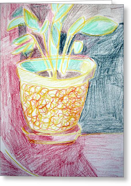 Potted Plants Drawings Greeting Cards - Potted Plant Still Life With Drapery Greeting Card by Anita Dale Livaditis