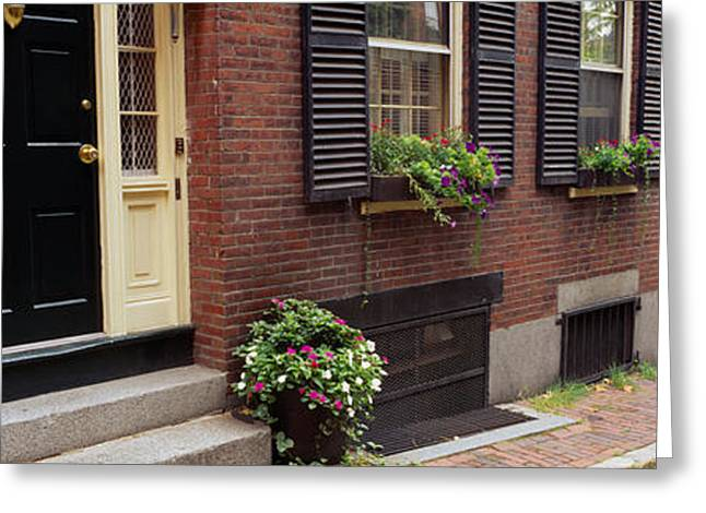 Entrance Door Greeting Cards - Potted Plants Outside A House, Acorn Greeting Card by Panoramic Images
