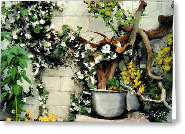 Yellow Flower Pot Greeting Cards - Potted Tree Greeting Card by David Kyte