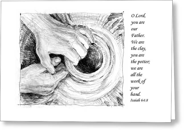 Pen And Ink Drawing Greeting Cards - Potter and Clay Greeting Card by Janet King