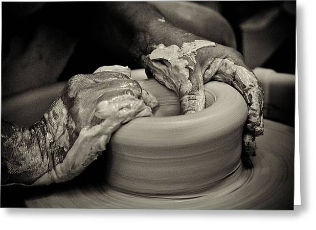 Pottery Wheel Greeting Cards - Potter Greeting Card by Caitlyn  Grasso