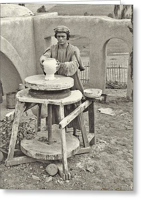 Pottery Wheel Greeting Cards - Potter Greeting Card by Chuck Staley