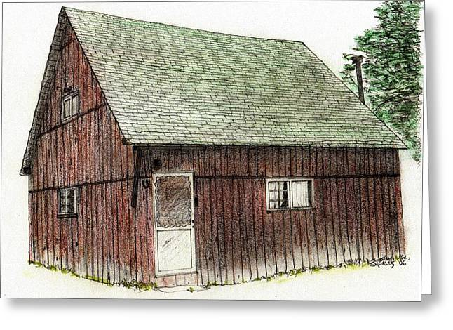 Old Cabins Drawings Greeting Cards - Potter County Cabin Greeting Card by Tim Shoales