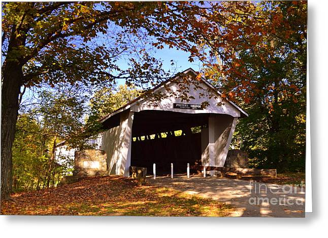 Indiana Autumn Greeting Cards - Potters Bridge in Fall Greeting Card by Amy Lucid