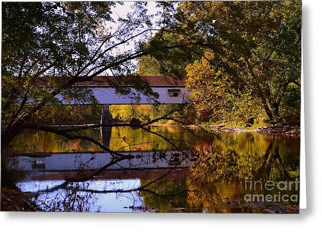 Indiana Autumn Greeting Cards - Potters Covered Bridge Reflection Greeting Card by Amy Lucid