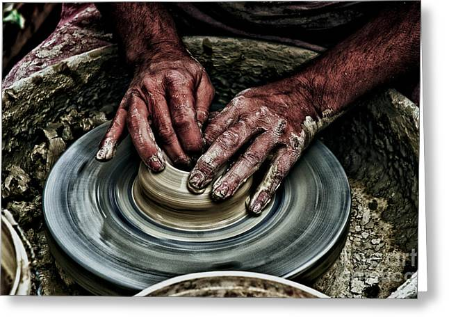 Pottery Wheel Greeting Cards - Potters wheel  Greeting Card by Dan Yeger