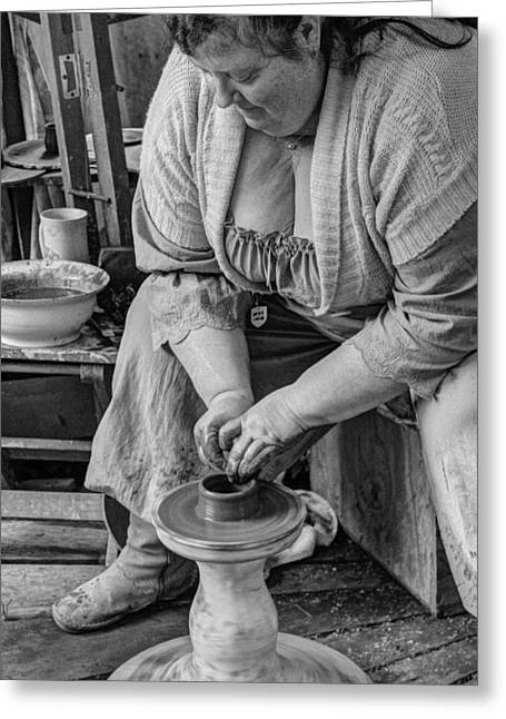 Master Potter Greeting Cards - Potters Wheel v1 Greeting Card by John Straton