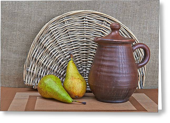 Old Pitcher Greeting Cards - Pottery And Two Pears Still Life Greeting Card by Yury Ryzhov