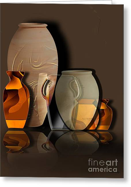 Ocher Greeting Cards - Pottery and vase 4 Greeting Card by Christian Simonian