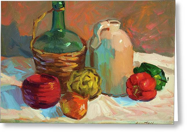 Chianti Greeting Cards - Pottery and Vegetables Greeting Card by Diane McClary