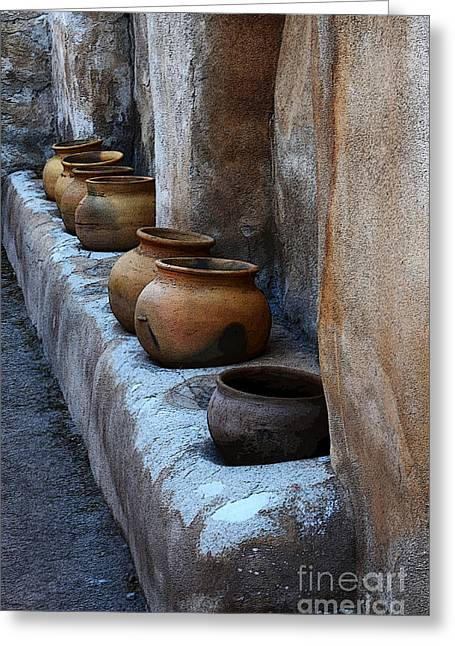 Historical Buildings Greeting Cards - Pottery At Mission San Jose De Tumacacori Greeting Card by Bob Christopher