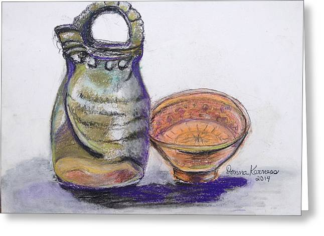 Pottery Pitcher Pastels Greeting Cards - Pottery buddies... Greeting Card by Donna Kerness
