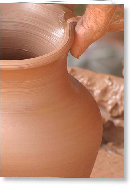 Pottery Ceramics Greeting Cards - Pottery Demonstration Greeting Card by Alan Raisman