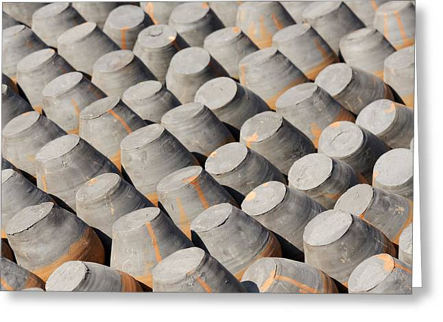 Pottery Drying In The Sun Greeting Card by Dutourdumonde Photography