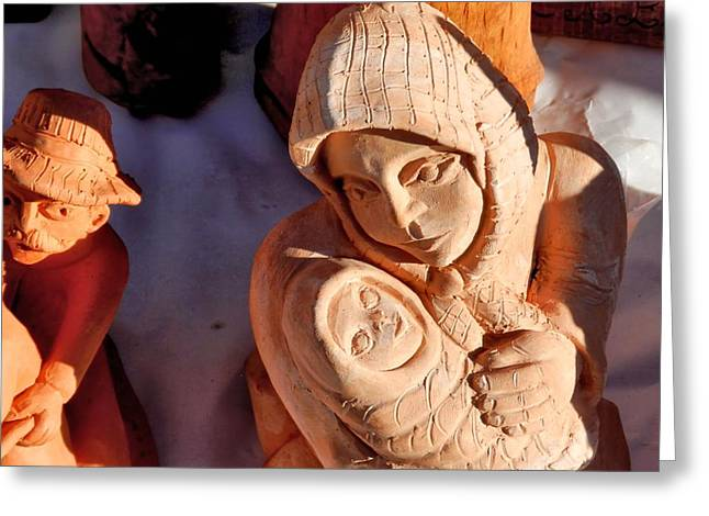 Pottery Fair Virgin Mary With Infant Jesus Greeting Card by Ion vincent DAnu