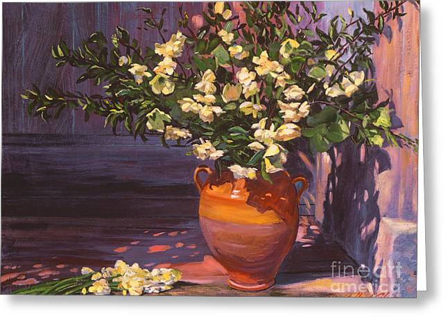 Outdoor Still Life Greeting Cards - Pottery Flower Jug Greeting Card by David Lloyd Glover