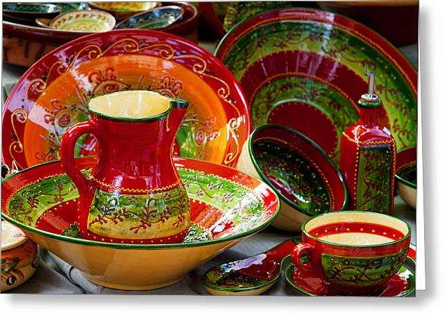 Retail Art Greeting Cards - Pottery For Sale At A Market Stall Greeting Card by Panoramic Images