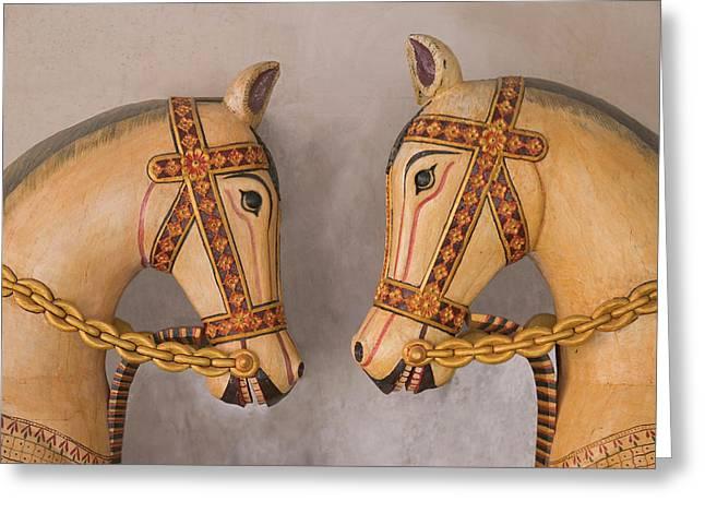 Pottery Horses, Jaipur, Rajasthan, India Greeting Card by Keren Su