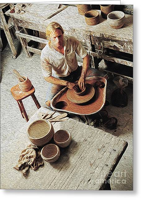 Pottery Greeting Cards - Pottery Maker Greeting Card by Jon Neidert