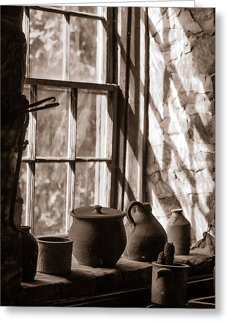 Pottery Pitcher Greeting Cards - Pottery on a stone sill Greeting Card by Chris Bordeleau