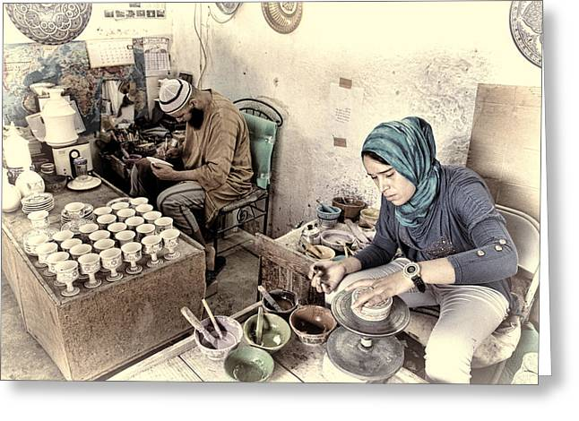 Painter At Work Greeting Cards - Pottery Painters Greeting Card by Phil Dyer