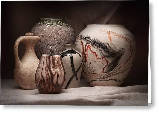 Brown Toned Art Greeting Cards - Pottery Still Life Greeting Card by Tom Mc Nemar