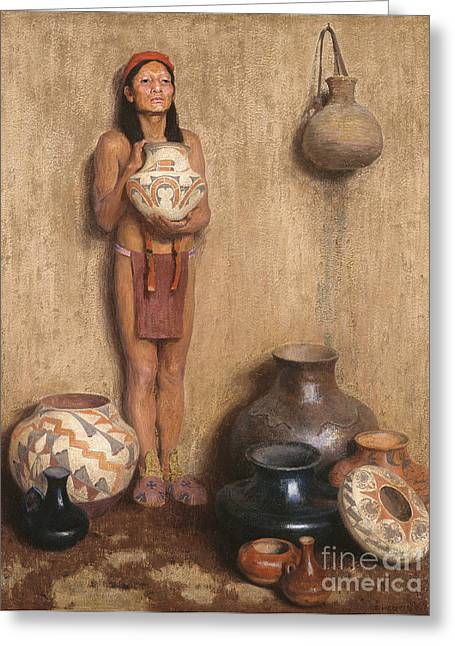 Vale Greeting Cards - Pottery Vendor Greeting Card by Celestial Images