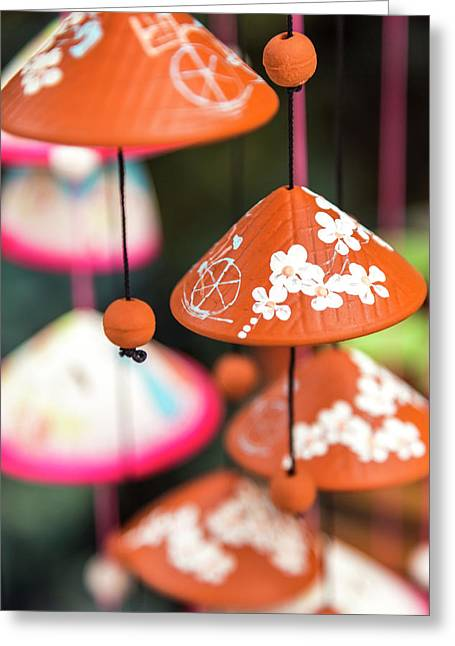 Pottery Wind Chimes With Vietnamese Greeting Card by Peter Adams