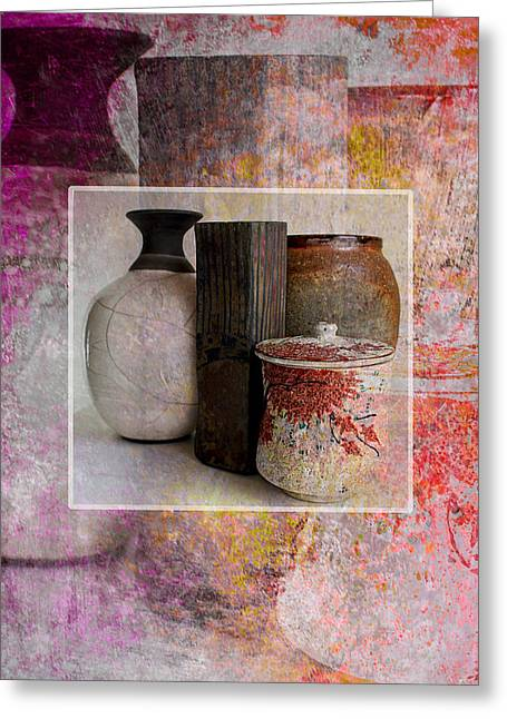 Interior Scene Mixed Media Greeting Cards - Pottery with Abstract Greeting Card by John Fish
