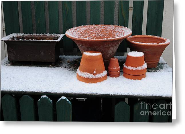 Potting Bench Greeting Cards - Potting Bench in Snow 11 Greeting Card by Vinnie Oakes