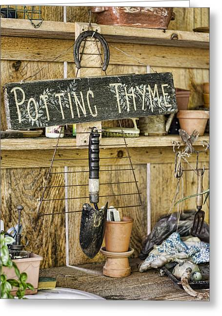 Potting Thyme Greeting Card by Heather Applegate