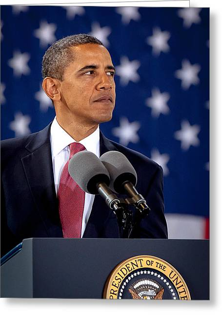 44th President Photographs Greeting Cards - Obama Greeting Card by Joshua Berman