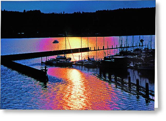 Boats At Dock Greeting Cards - Poulsbo  Greeting Card by Mike Flynn