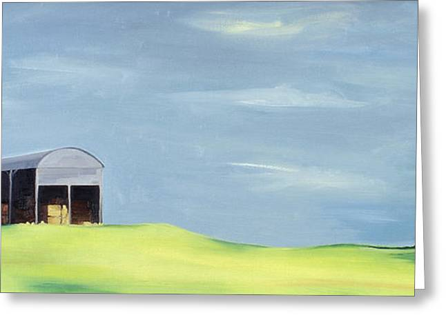 Shed Paintings Greeting Cards - Poulton Fields  Greeting Card by Ana Bianchi