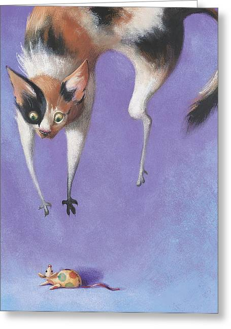 Playful Animals Greeting Cards - Pounce Greeting Card by Barbara Hranilovich