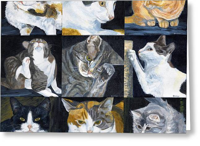 Pictures Of Cats Paintings Greeting Cards - Pound Cats Greeting Card by Karen  Bockus