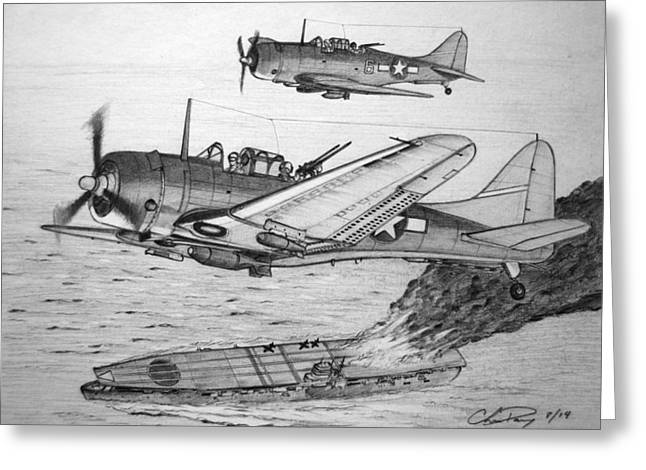 Spitfire Drawings Greeting Cards - Pounding the Imperial Fleet Greeting Card by Chris Dang