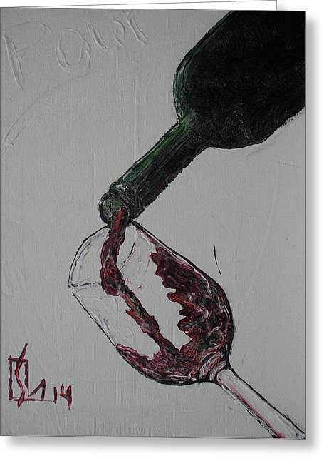 Wine Pour Paintings Greeting Cards - Pour Greeting Card by Lee Stockwell