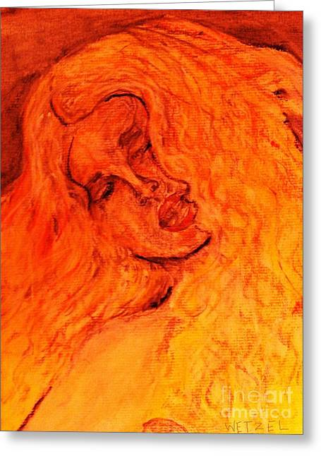 Burning Pastels Greeting Cards - Poured From Fire Greeting Card by Joseph Wetzel